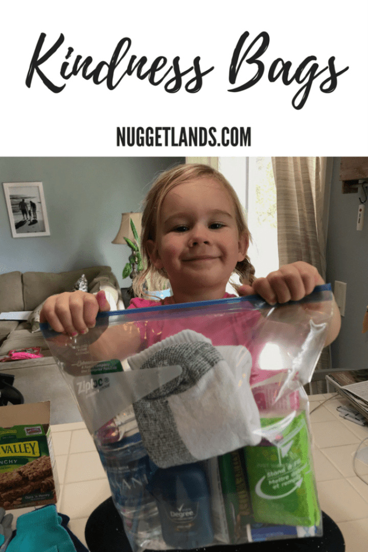 One of my favorite Christmas traditions is having the Kindness Elves come and visit my kids. It's similar to Elf on the Shelf and recommends activities for them to give back rather than just receive. This random act of kindness is for the homeless, easy DIY care bags that any toddler, preschooler or older school age kid can help assemble and teaches compassion and empathy.
