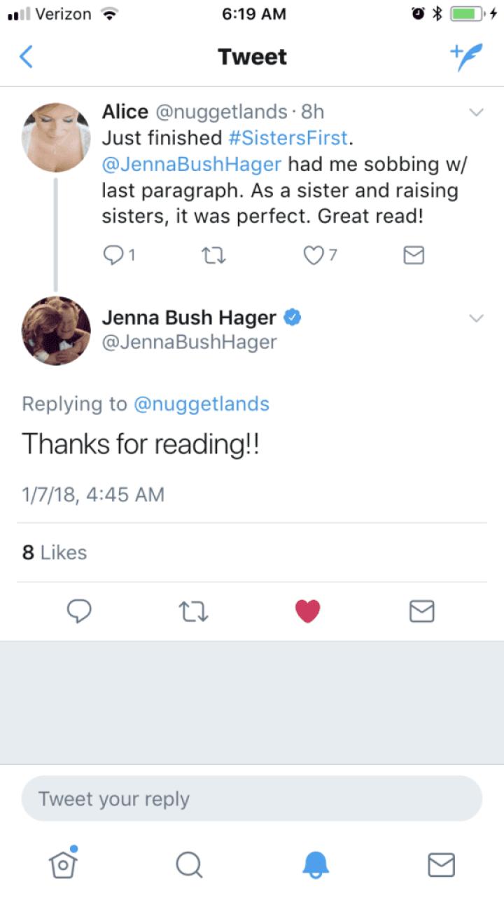 Tweet from Jenna Bush Hager
