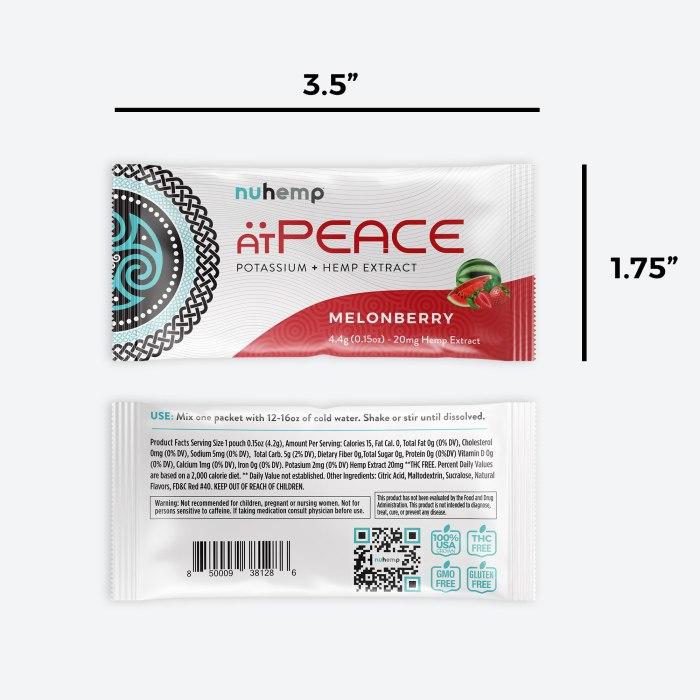 "Nuhemp atPEACE Potassium + Hemp Extract Melonberry 4.4g 20mg hemp extract drink packet 3.5"" wide 1.75"" tall"