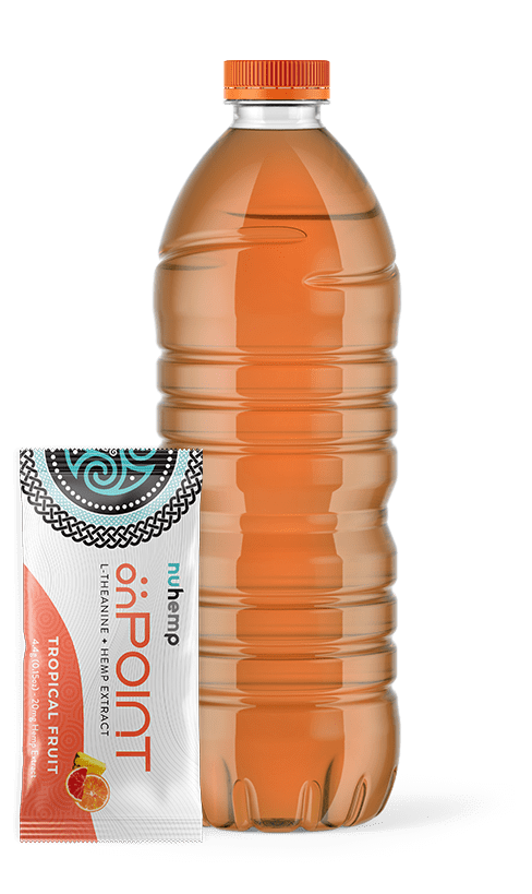 nuhemp onPOINT Hemp Extract Tropical Fruit Drink Mix sachet packet with water bottle
