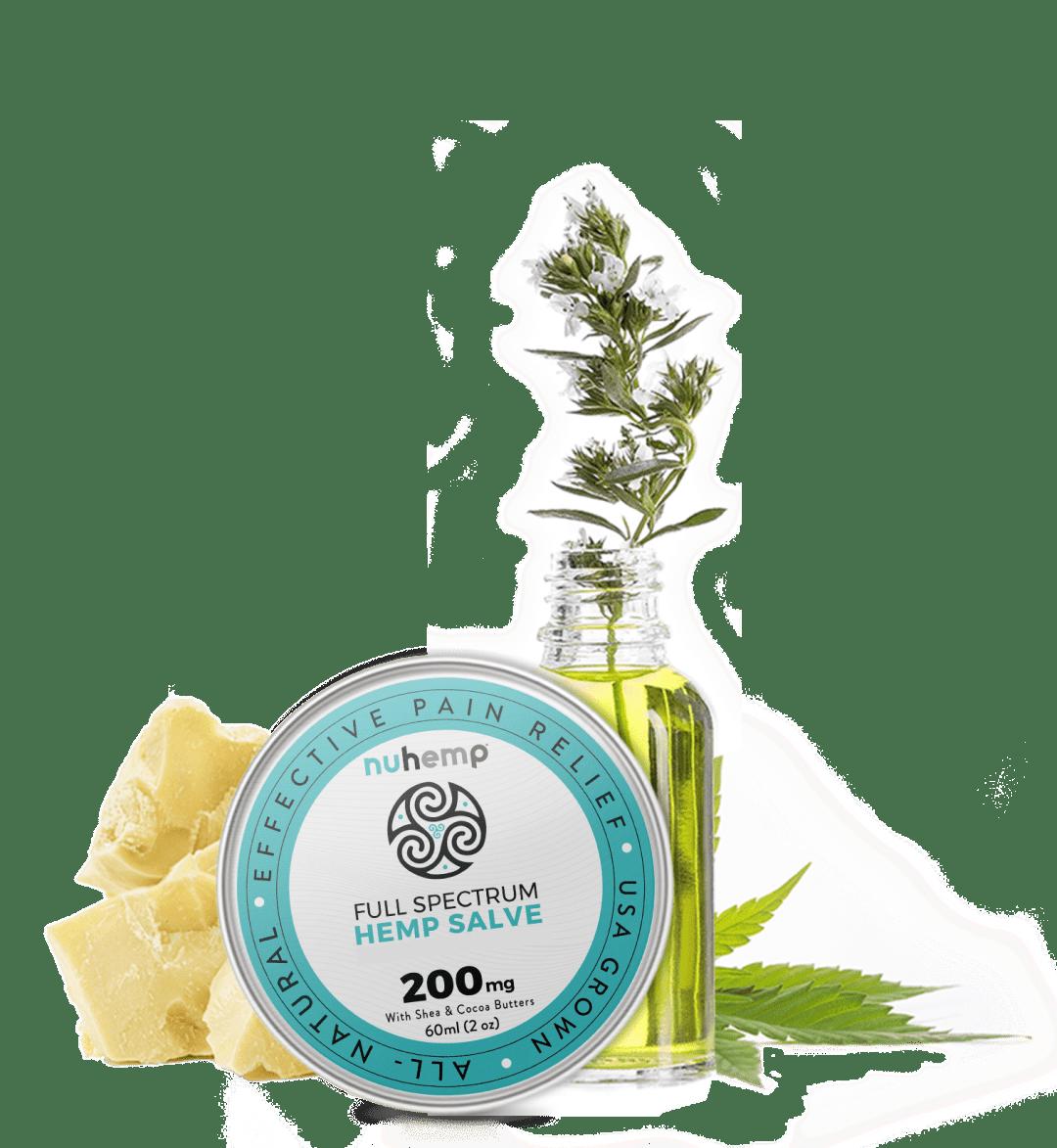 Nuhemp hemp salve essentials oils with shea butter and cocoa butter