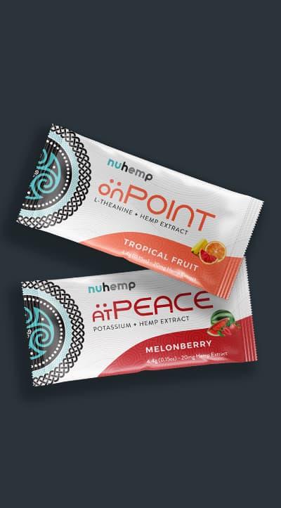 onPoint Focus & Energy Hemp Drink Mix and atPEACE Hemp Calm Drink Mix