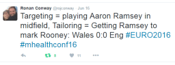 Dr. Ronan Conway's winning tweet (The conference took place during the England vs Wales playoff in UEFA EURO 2016!)