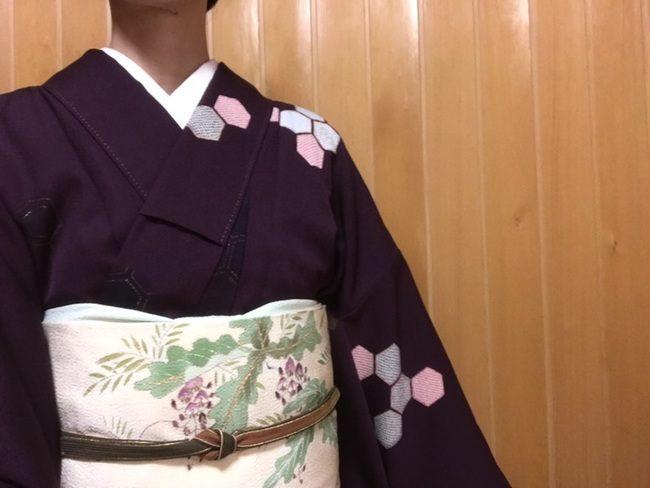 紫地に亀甲文様の付下げのお召しに藤文様の縮緬名古屋帯の春の装いのコーディネート