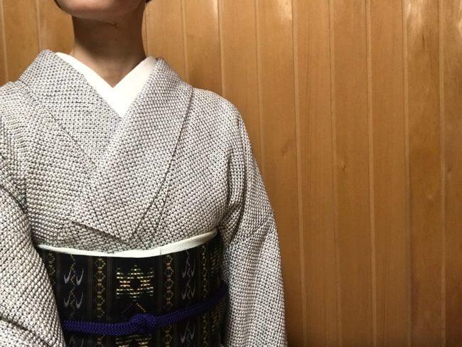 総本疋田絞りに宮平初子さんの首里花織名古屋帯のコーディネート