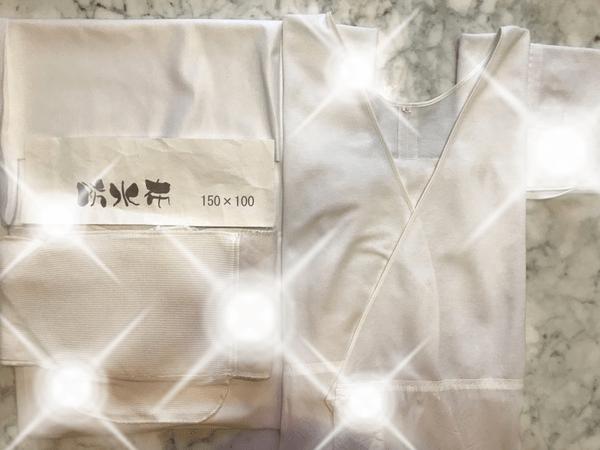 たかはしきもの工房で購入した汗対策、汗ジミ対策の商品。使用していた肌襦袢・腰パッド・防水布