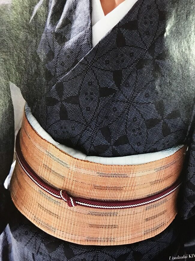 宮古上布・紺上布の絣のきものと喜如嘉の芭蕉布の八寸名古屋帯