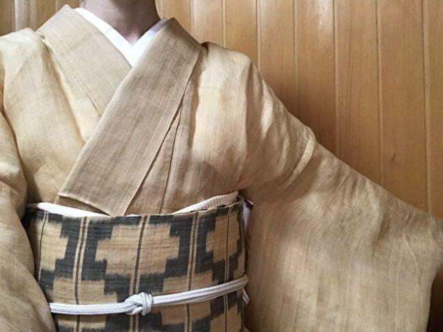 生成り無地芭蕉布の着物に芭蕉布の絣の名古屋帯のコーディネート