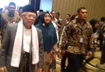 Mustasyar PBNU KH. Ma'ruf Amin bersama istri saat menghadiri Halal Bi Halal bersama PWNU Jawa Tengah di PO Hotel Semarang, Rabu (19/06/2019). Foto : Rais