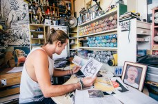 """Tort sits in his studio near Universitat Barcelona, surrounded by his spray cans and sketches. The first time he painted graffiti was when he was 12 years old, but after he started getting in trouble with the police and he stopped for almost a decade. """"For 10 years I started painting t-shirts and skateboards, and from that I went back to walls but in a more creative and non-vandalistic way,"""" said Tort. """"You can't talk about art in our century without talking about street art,"""" he said."""