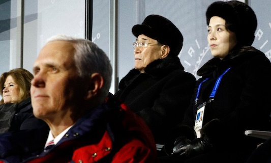 Behind VP Pence: Kim Yong Nam, President of the Presidium of North Korean Parliament, and Kim Yo Jong, sister of leader Kim Jong Un ()