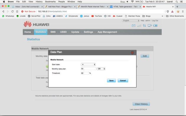 Fitur Data Plan Mifi Huawei E5673