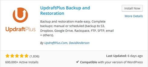 Plugin Backup WordPress UpDraft Plus