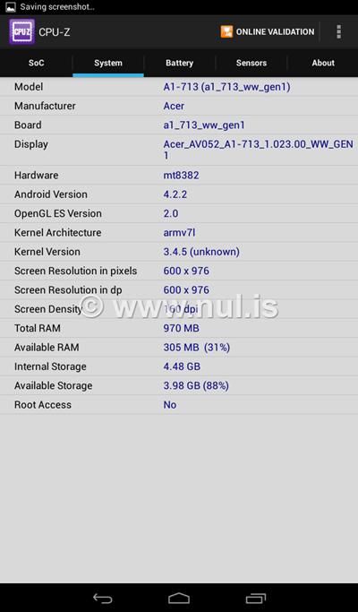 Spesifikasi RAM dan Internal Storage Iconia Tab 7
