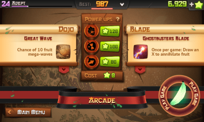 User Interface Fruit Ninja Berubah