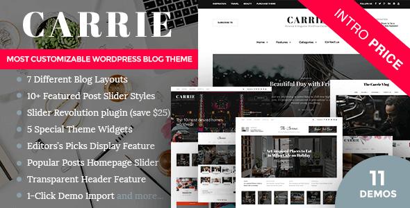 Carrie 2.1 – Personal & Magazine WordPress Responsive Clean Blog Theme