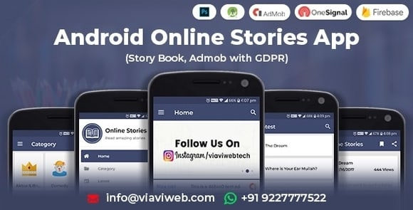Android Online Stories App (Story Book, Admob with GDPR) Source Code FREE