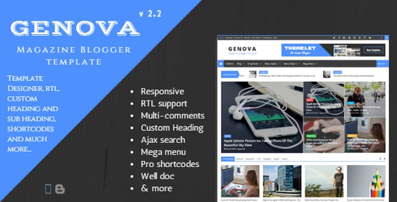 Genova News and Magazine Responsive Blogger Template