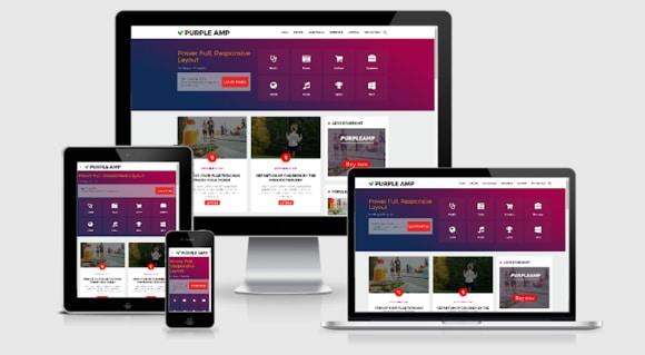 Purple AMP HTML Responsive Blogger Template Premium