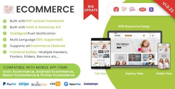 Laravel Ecommerce Universal Store PHP Script