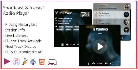 SHOUTcast and Icecast Radio Web Player Download