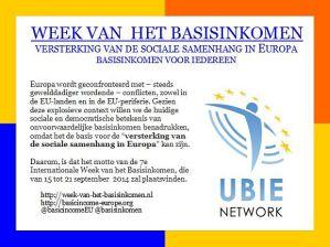Week van het Basisinkomen 15-21 september 2014 @ Nederland & de Wereld