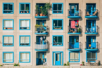 A row of windows, painted blue.