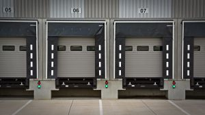 A loading bay for trucks of a moving company.
