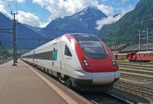 A train on tracks