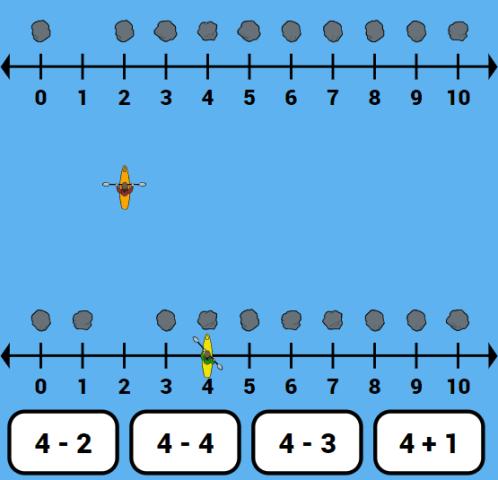 kayak racing number line game