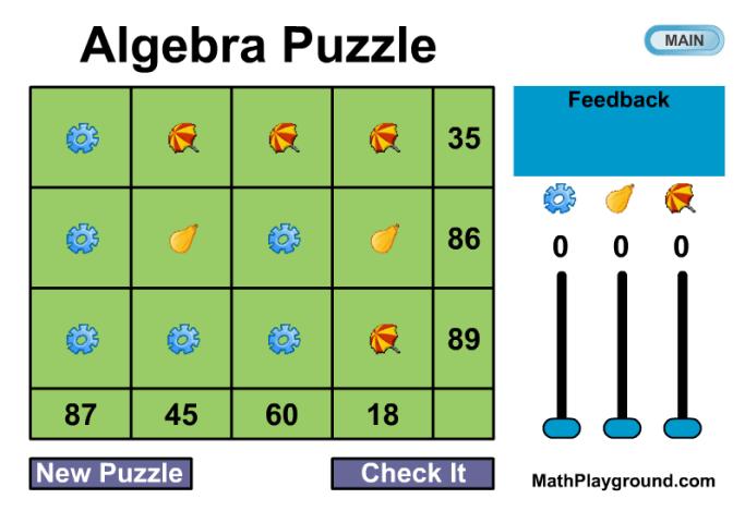 algebra puzzle game