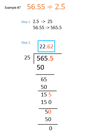 decimal division examples when both dividend and divisor is a decimal number