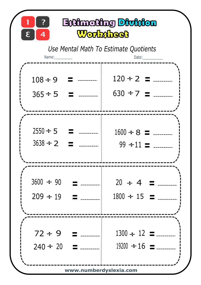 hight resolution of Free Printable Estimating Division worksheets PDF - Number Dyslexia