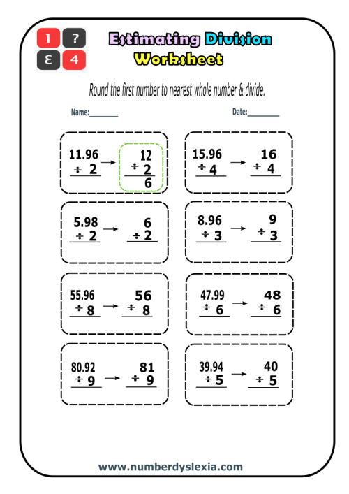 small resolution of Free Printable Estimating Division worksheets PDF - Number Dyslexia