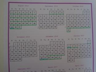Calendar with half of pencil dates