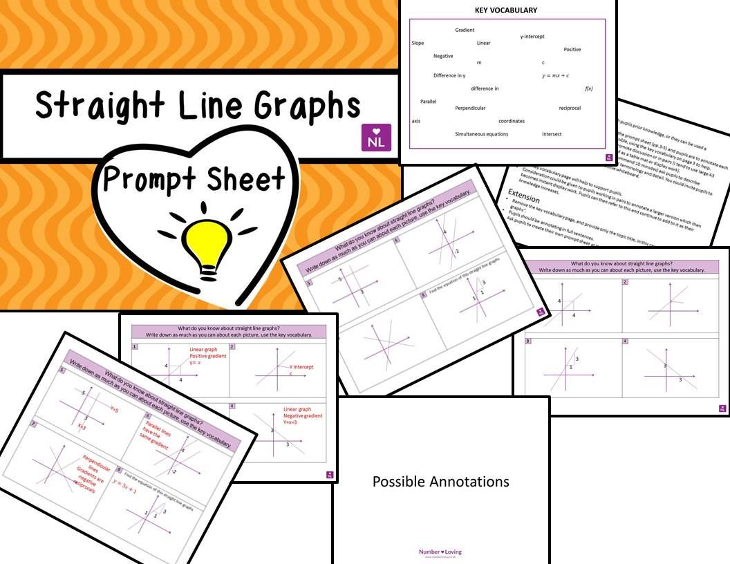 Straight Line Graphs Prompt Sheet