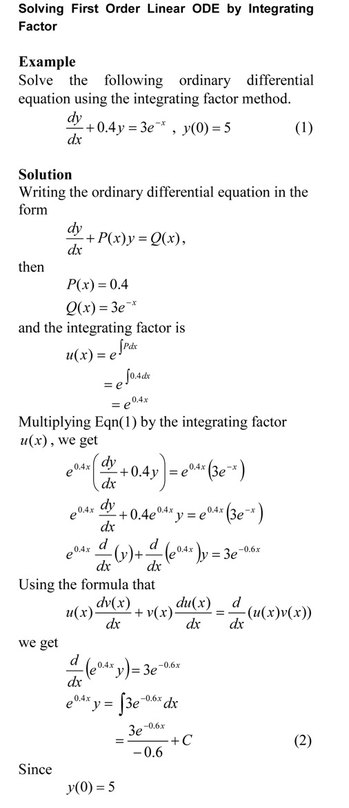 Solving First Order Linear ODE by Integrating Factor