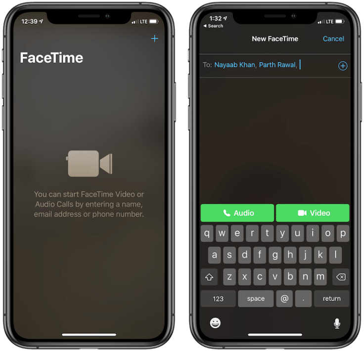 Starting a FaceTime call on iPhone