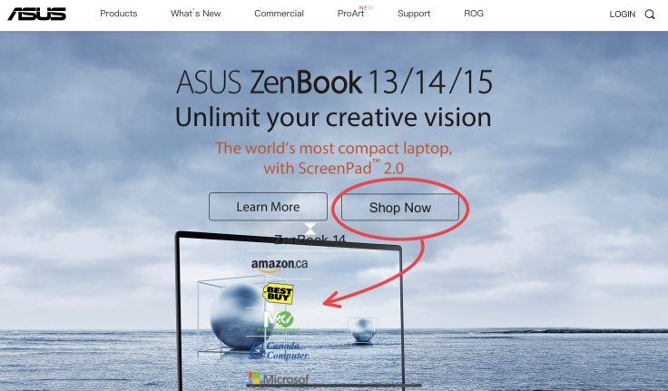 ASUS ZenBook product Landing page