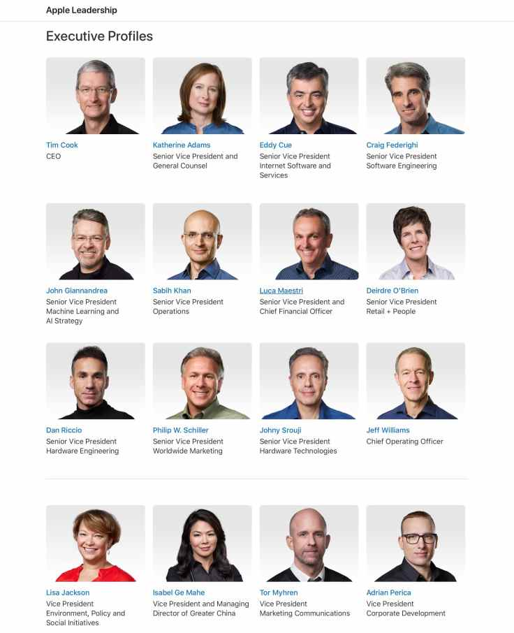 Apple leadership page as of September of 2020