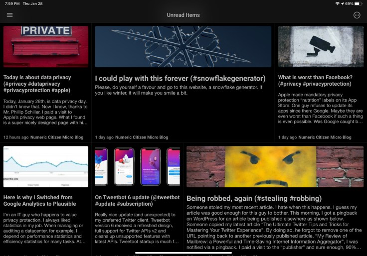 Example of my microblog frontpage screenshot created from a shortcut
