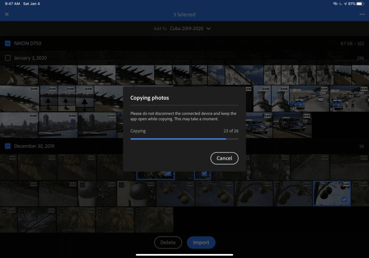 Importing RAW images in the iPad