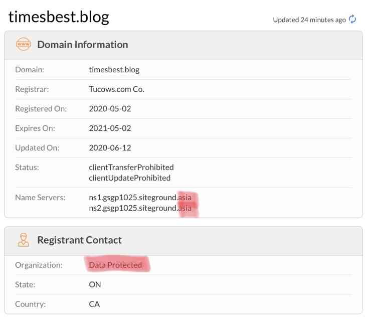 Whois domain information for timesbest.blog shitty site