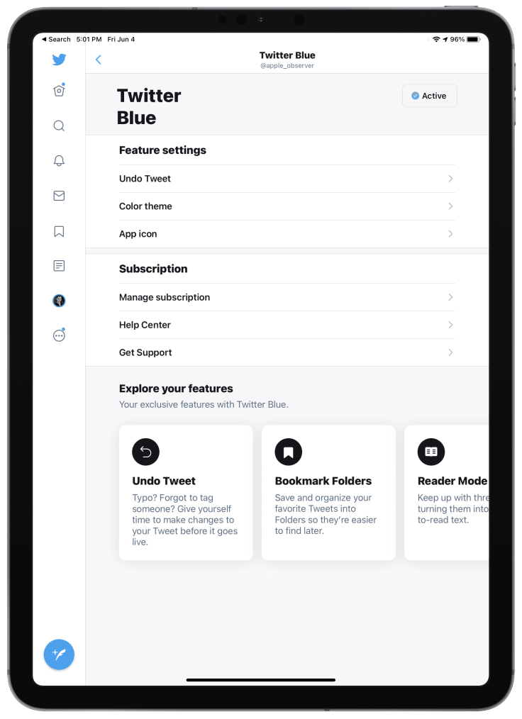 Twitter Blue subscription page