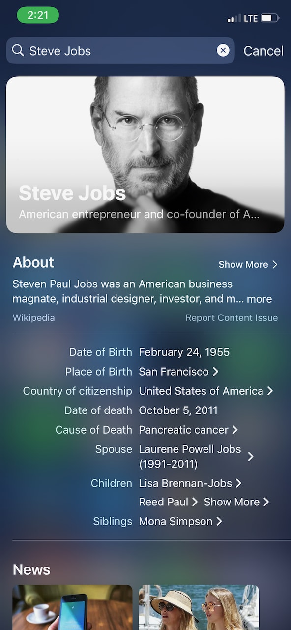 Searching for Stve Jobs