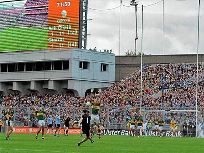Stephen Cluxton scores the winning point in the 2011 All-Ireland final