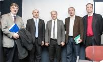 Sergio Suppo, Ricardo Lorenzetti, Pablo Mendelevich, Edi Zunino y Daniel Santoro en la UP (Foto gentileza cij.gov.ar)