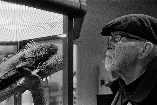 David Ferry with iguana