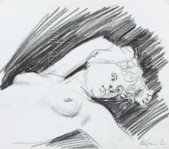 conte crayon nude torso