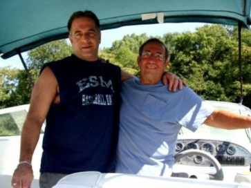 Jimmy and Jimmy Jr. on the boat. Two years later, his son would die of a heart attack, just about finishing off Jimmy as well.